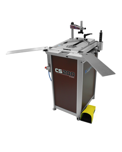 CS 200 CART, pneumatic underpinner (v-nailer), large joining stroke of 19cm (7 1/2″), very powerful & retractable Ultra clamps, auto-alignment of top clamp