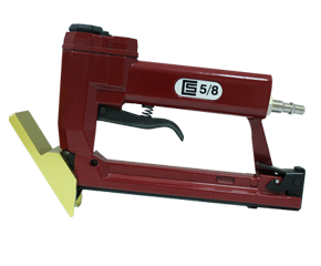 CS 5/8 pneumatic gun designed for «narrow» U-shape staples. Featuring an exclusive 45° metal head guide. Ideal for permanent fixing of the frames' backs
