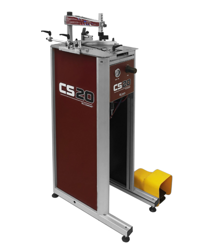 CS 20 CART, pneumatic underpinner (v-nailer), with horizontal clamps, self-adjusting air pressure, for wide mouldings with a 14cm joining stroke